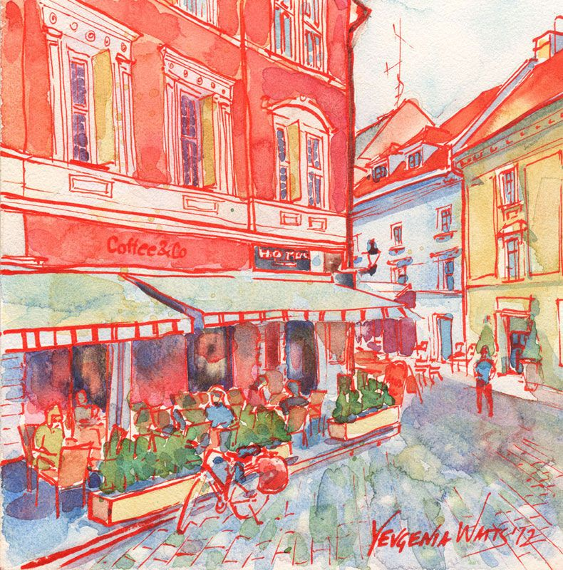 Coffee in Bratislava by Yevgenia Watts. Ink and watercolor on Aquabord.