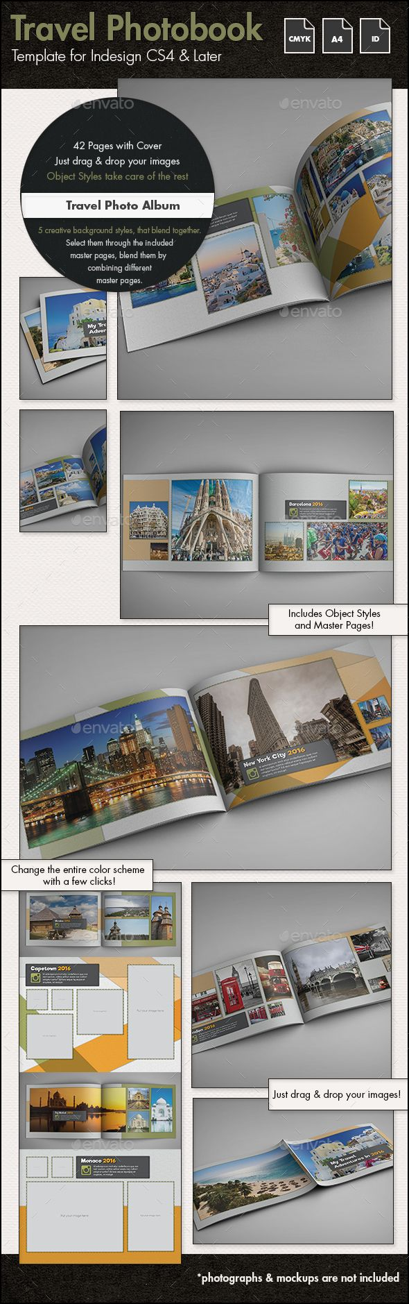 Travel Photo Album Template g2 - A4 Landscape | Landscaping, Album ...