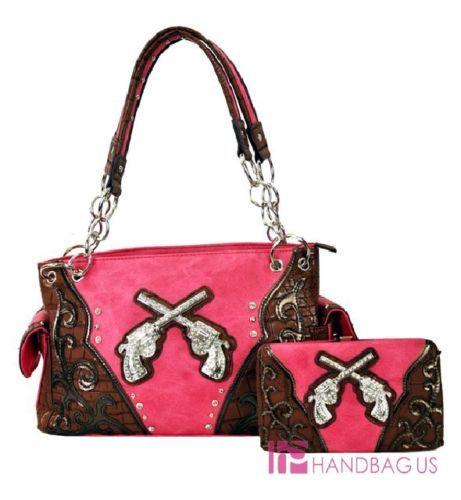 Western Rhinestone Pistol Gun Cowgirl Concealed Carry Purse Bag Wallet SET Pink