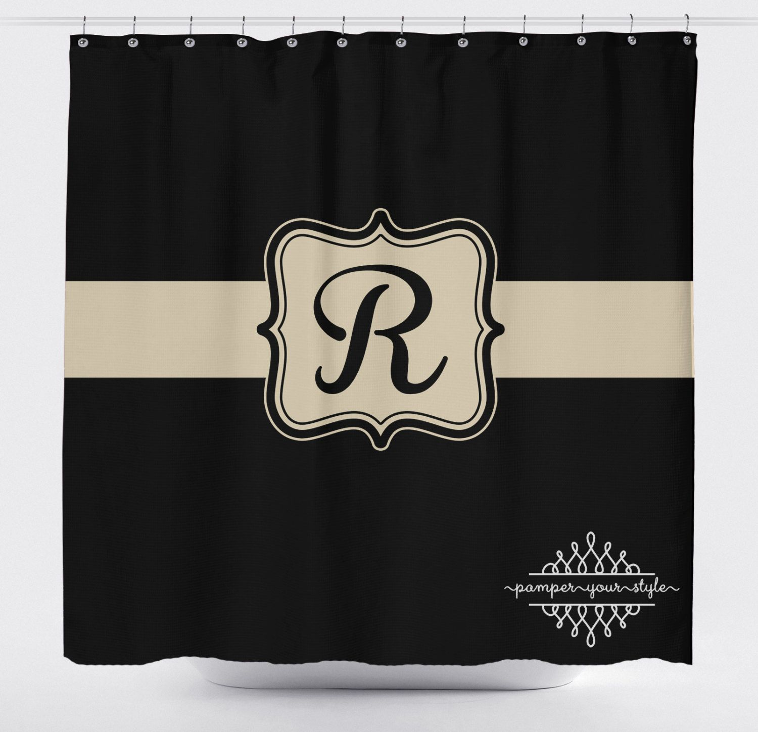 Black and Tan Monogrammed Shower Curtain Classy Bathroom Shower