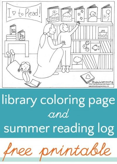Library Coloring Page (and Summer Reading Log) | Pinterest | Reading ...