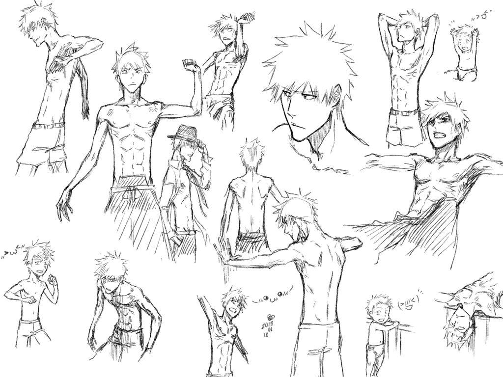 Random Sketches Of Ichigo Kurosaki Bleach Drawing Anime Character Design Bleach Art [ 768 x 1024 Pixel ]