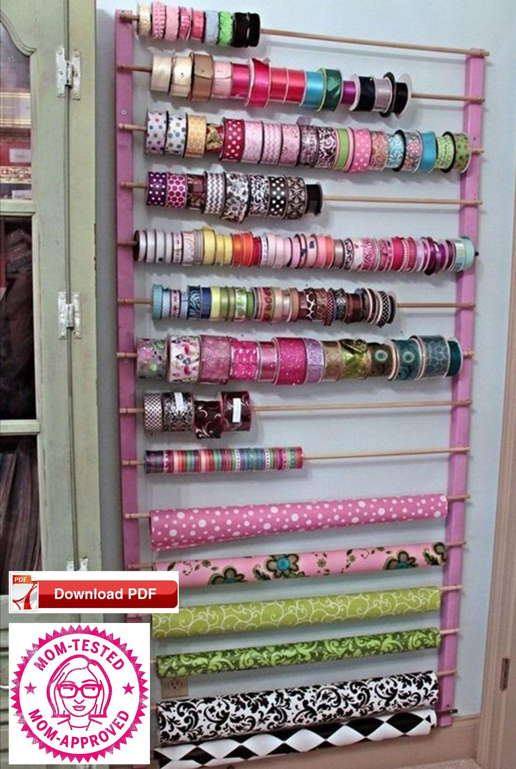 Craft Room Oganizer Plan Ribbon Holder Plan Wrapping Paper Holder