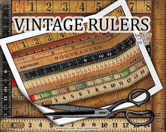 Vintage Wooden Rulers Cliparts Ruler Diecut Measuring Tape Borders