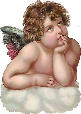 Oblaten Glanzbild scrap die cut Engel  XL 23,5cm angel cherub Wolke