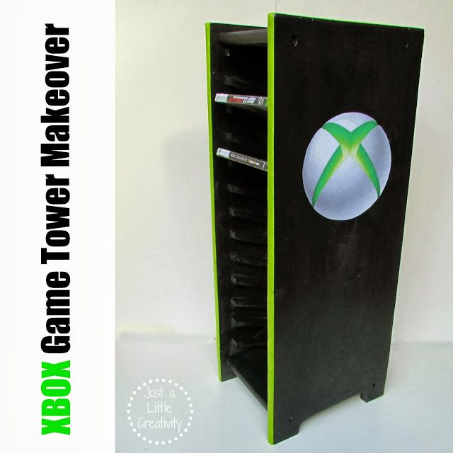 Xbox Game Storage Tower Before And After Makeover Just A Little Creativity Game Storage Video Game Storage Xbox Games