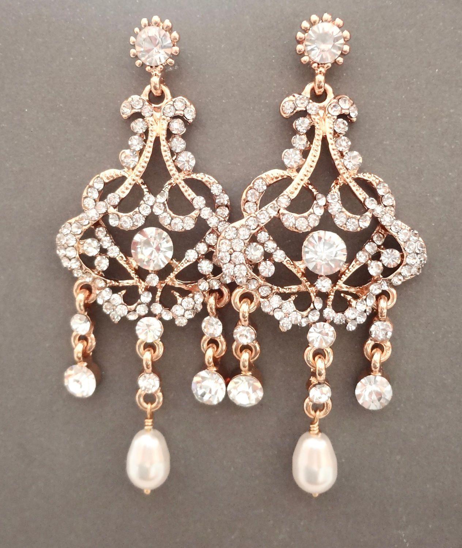 Gold pearl chandelier earrings brides earrings long jewelry gold pearl chandelier earrings brides earrings long aloadofball Images