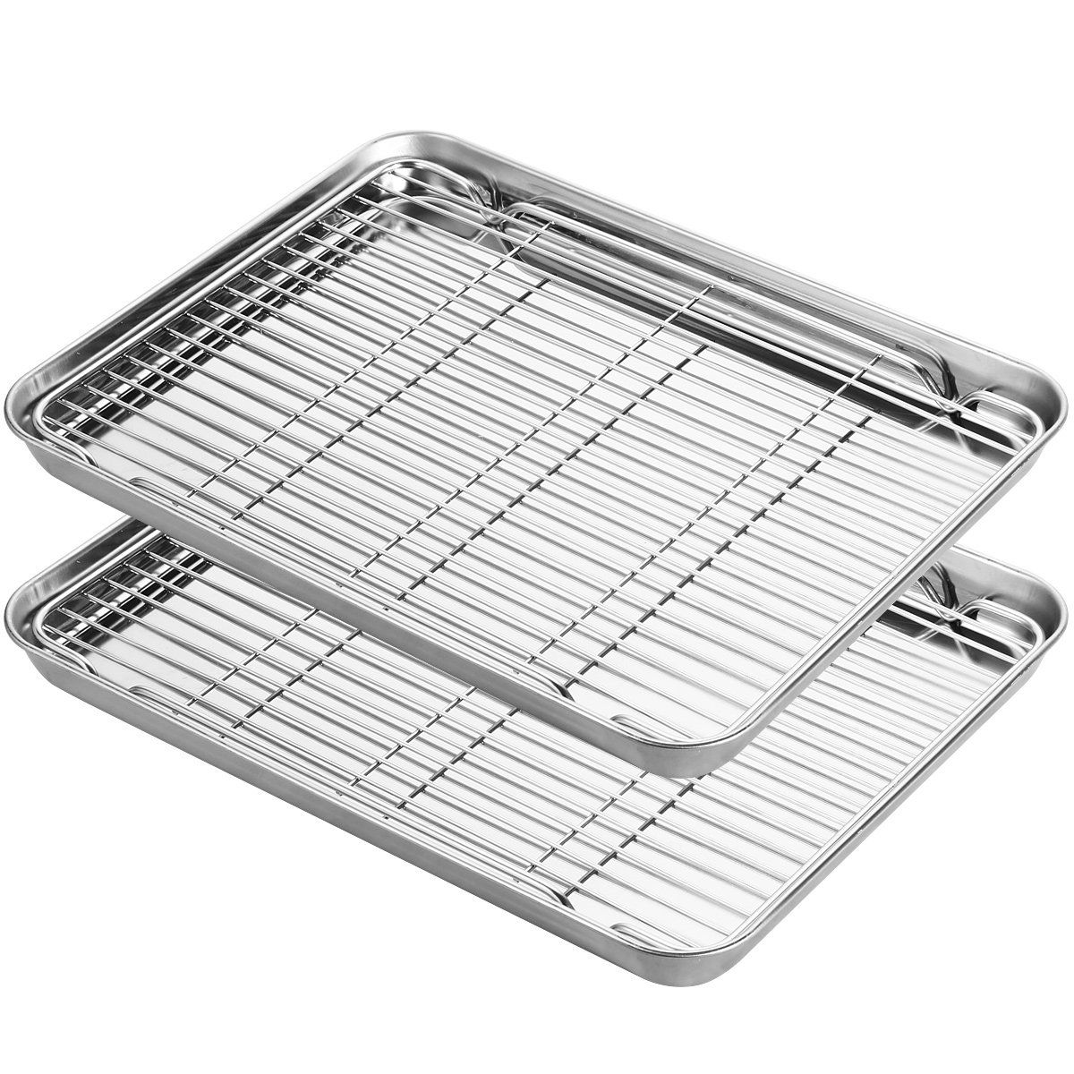 Stainless Steel Baking Sheets With Rack Hkj Chef Cookie Sheets And Nonstick Cooling Rack And Baking Pans For Oven And Toaster Baking Pans Toaster Oven Toaster