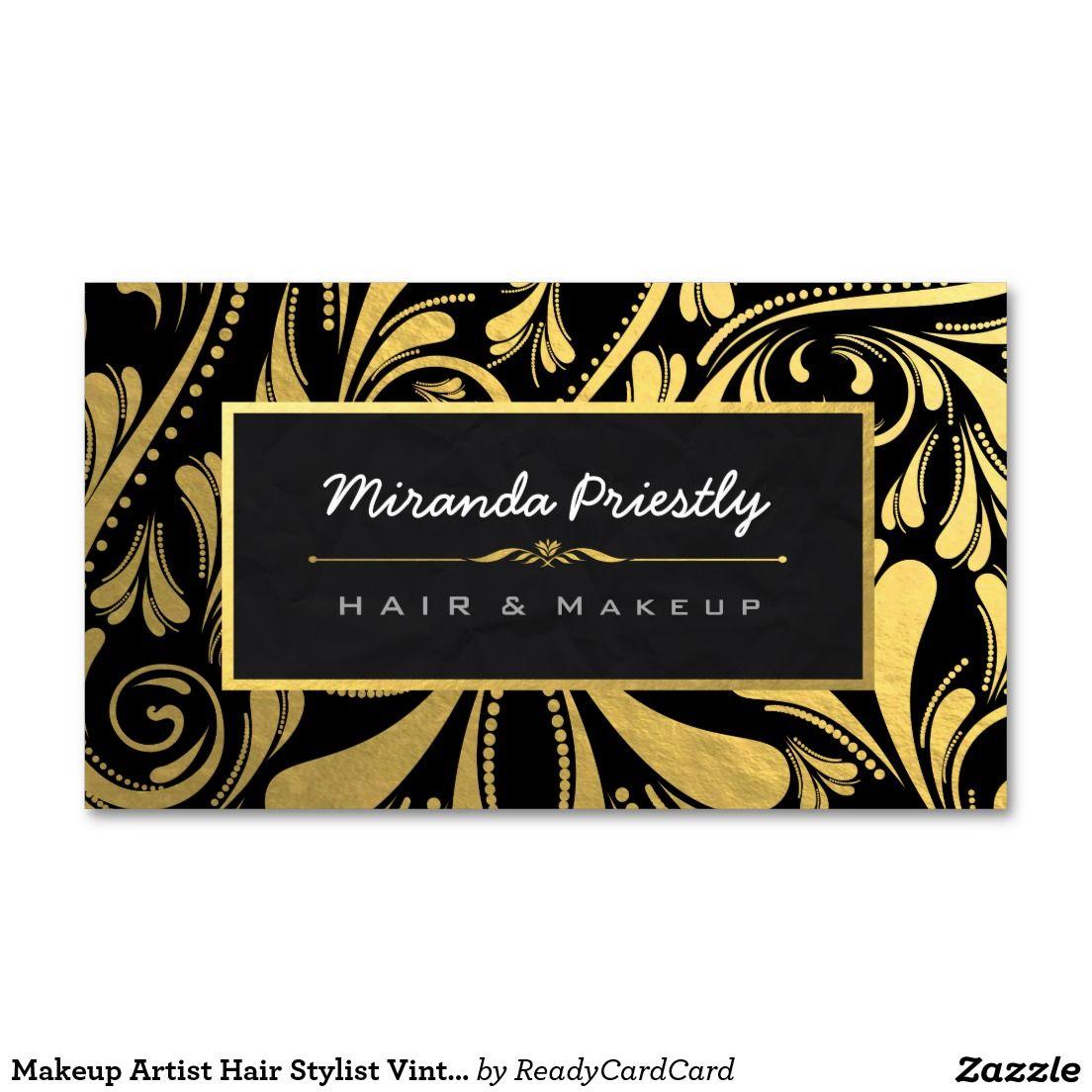 Makeup Artist Hair Stylist Vintage Black & Gold Business Card ...