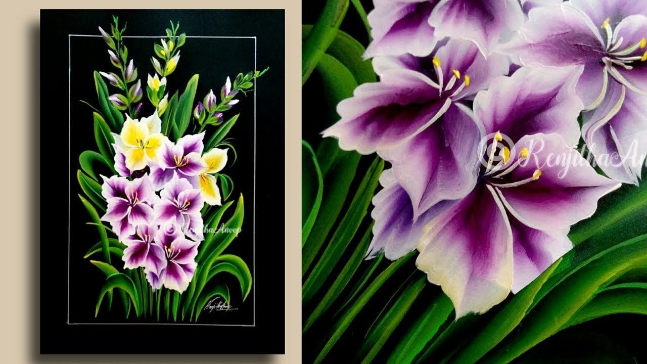 Step By Step Acrylic Painting For Beginners Painting Techniques Paint Gladiolus Youtube Acrylic Painting For Beginners Beginner Painting Flower Painting