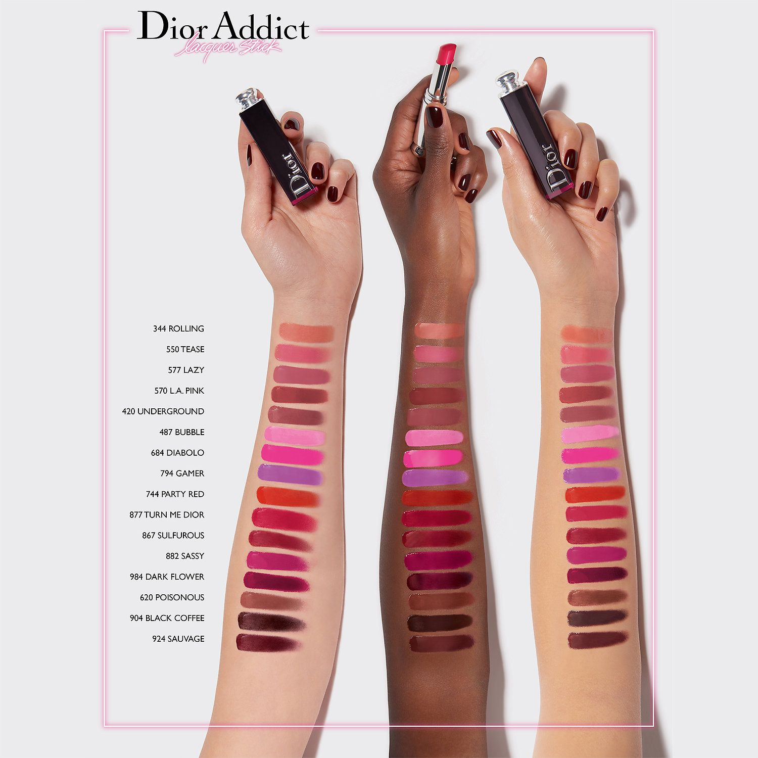Dior Addict Lacquer Stick Swatches  cfaf0a7e853