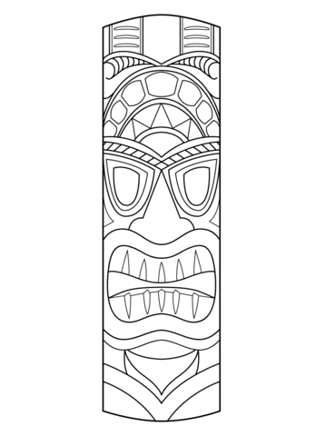 Tiki Mask Coloring page | Hawaii | Pinterest | Fiesta hawaiana ...