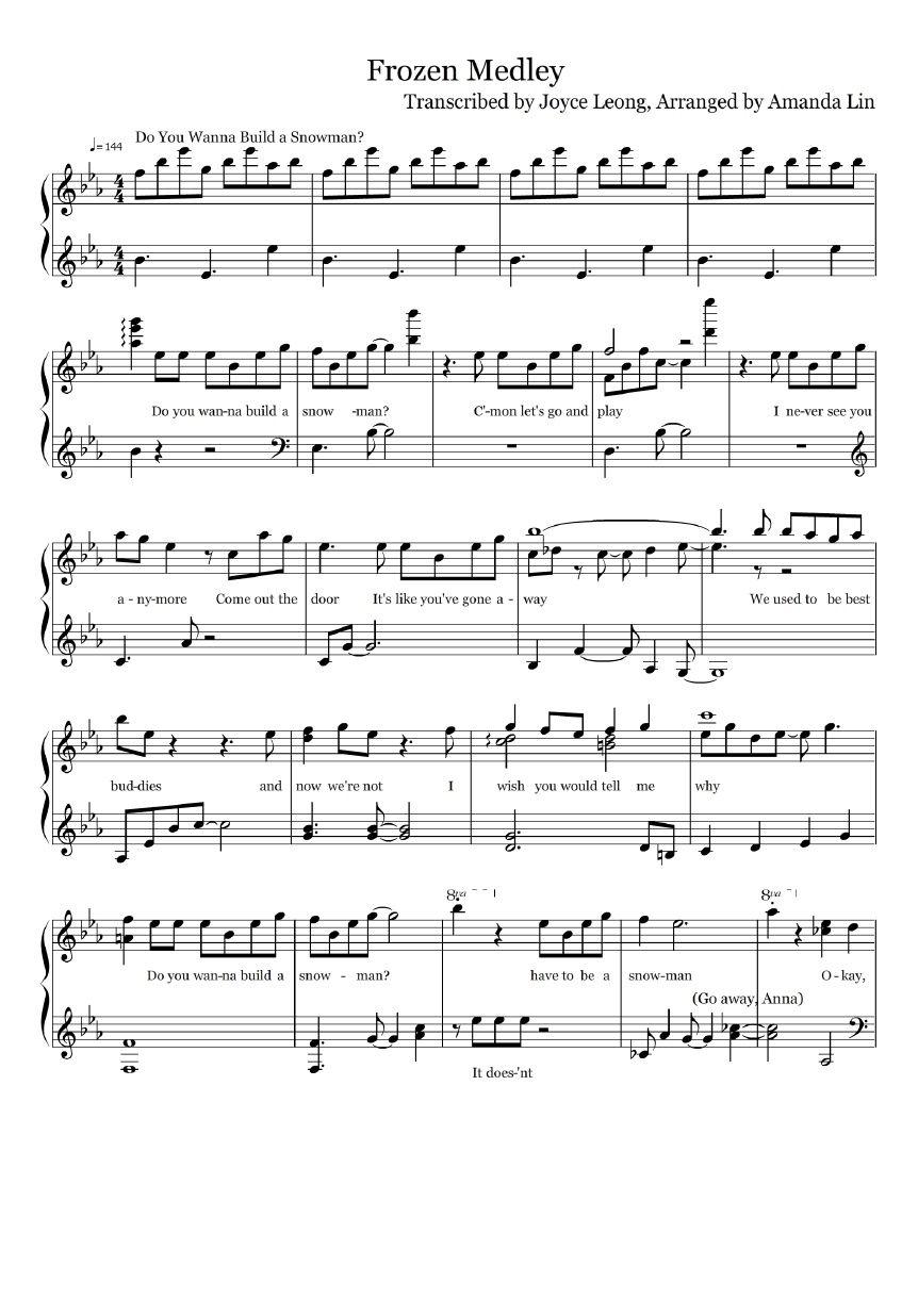 Frozen Piano Medley Medley Piano Frozen