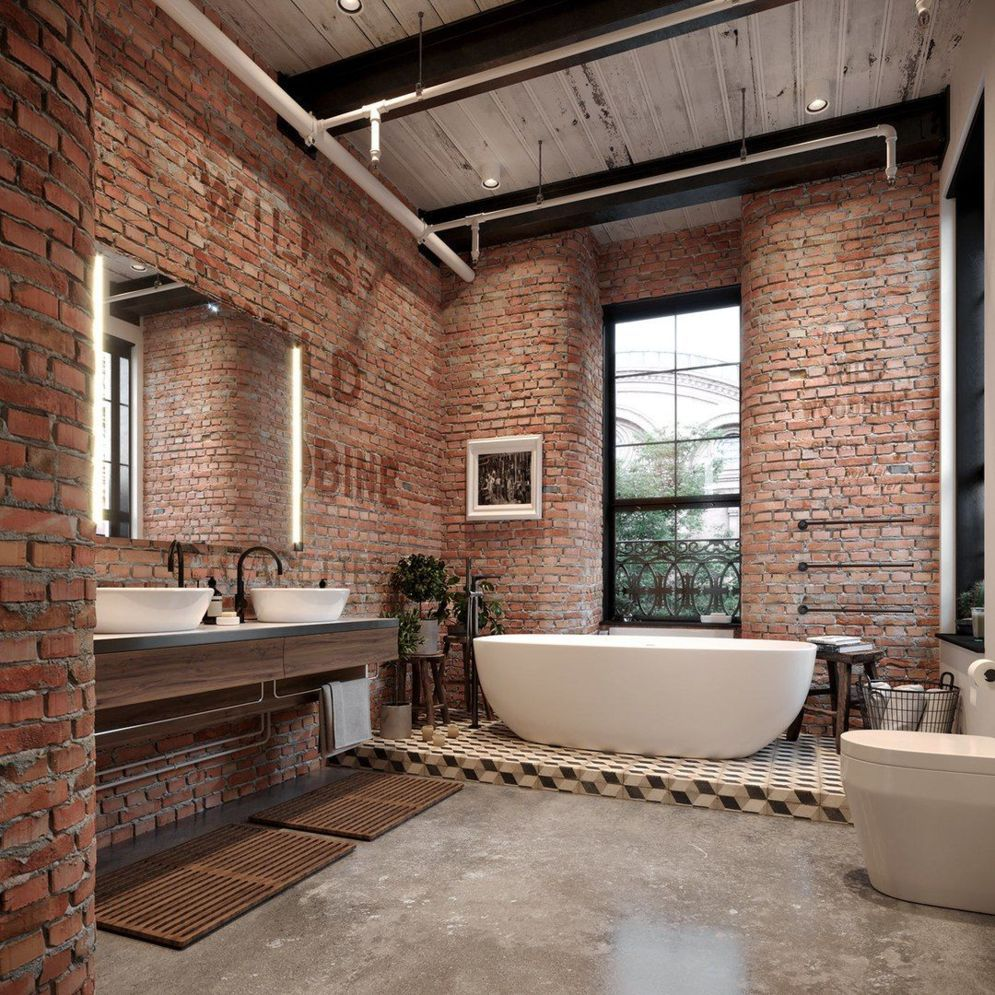 15 Top Raised Ranch Interior Design Ideas To Steal: Exposed Brick Bathroom Ideas You Must See