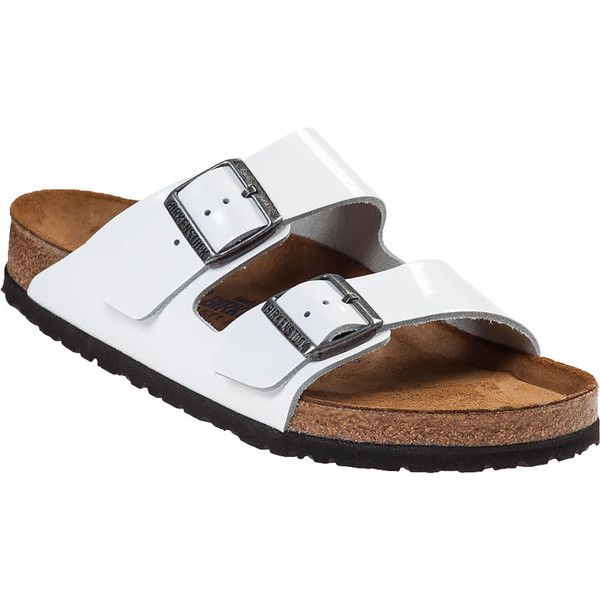 BIRKENSTOCK Arizona Slide Sandal White Patent (1.165 NOK) ❤ liked on Polyvore featuring shoes, sandals, white patent, buckle shoes, birkenstock sandals, patent sandals, patent leather shoes and white patent leather sandals