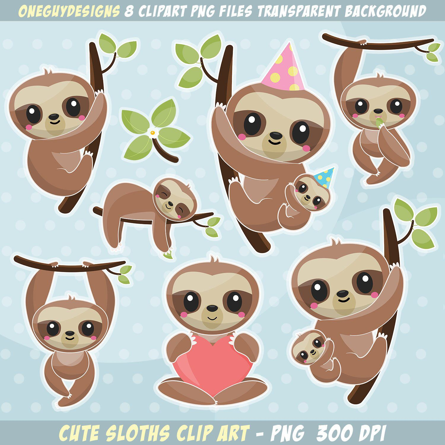 Cute Sloth Clipart. Baby & mom sloth clip art. Instant