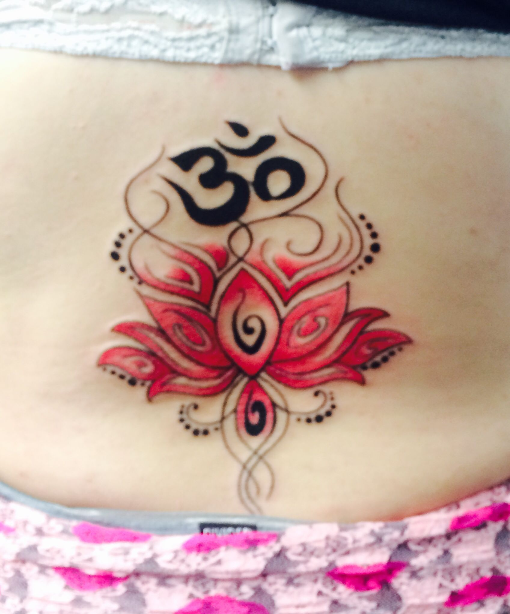 Pink lotus flower lower back tattoo ohm at the top represents pink lotus flower lower back tattoo ohm at the top represents harmony and peace with izmirmasajfo
