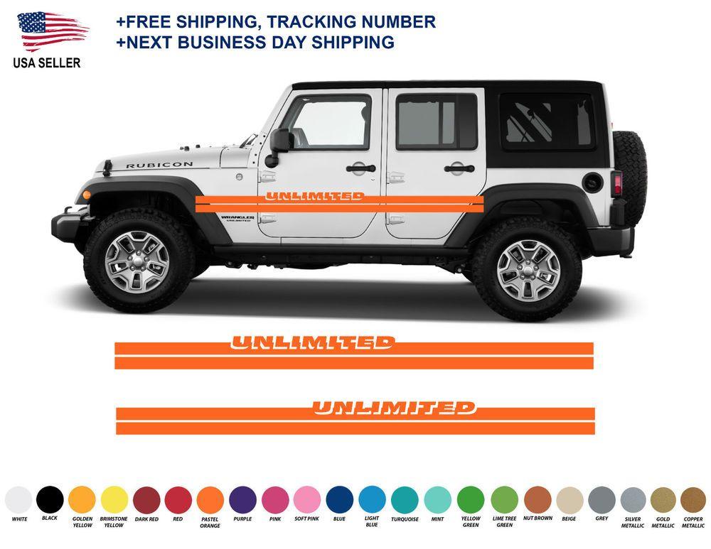 0409 Jeep Wrangler Rubicon Stripes Decal Graphic Jk Jku Side Vinyl Unlimited Oracal651 Suv Car Suv Car