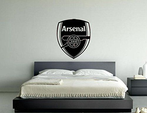 Arsenal Football Club Badge Vinyl Wall Art Sticker Decal Picture Black 55cms Wide X 63 Cms High Football Bedroom Boys Football Bedroom Football Rooms