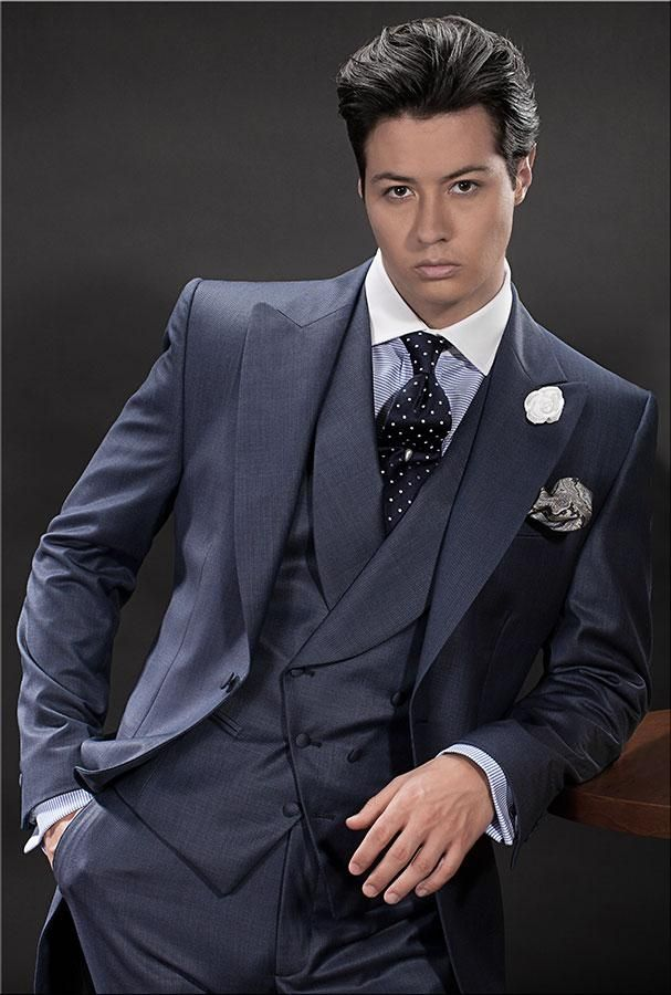 Latest Coat Pant Designs Navy Blue Italian Men Suit Double Breasted ...