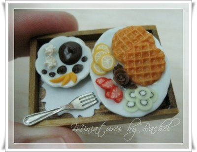Dollhouse Size Yummy Waffle by ToothFairyMiniatures on @DeviantArt