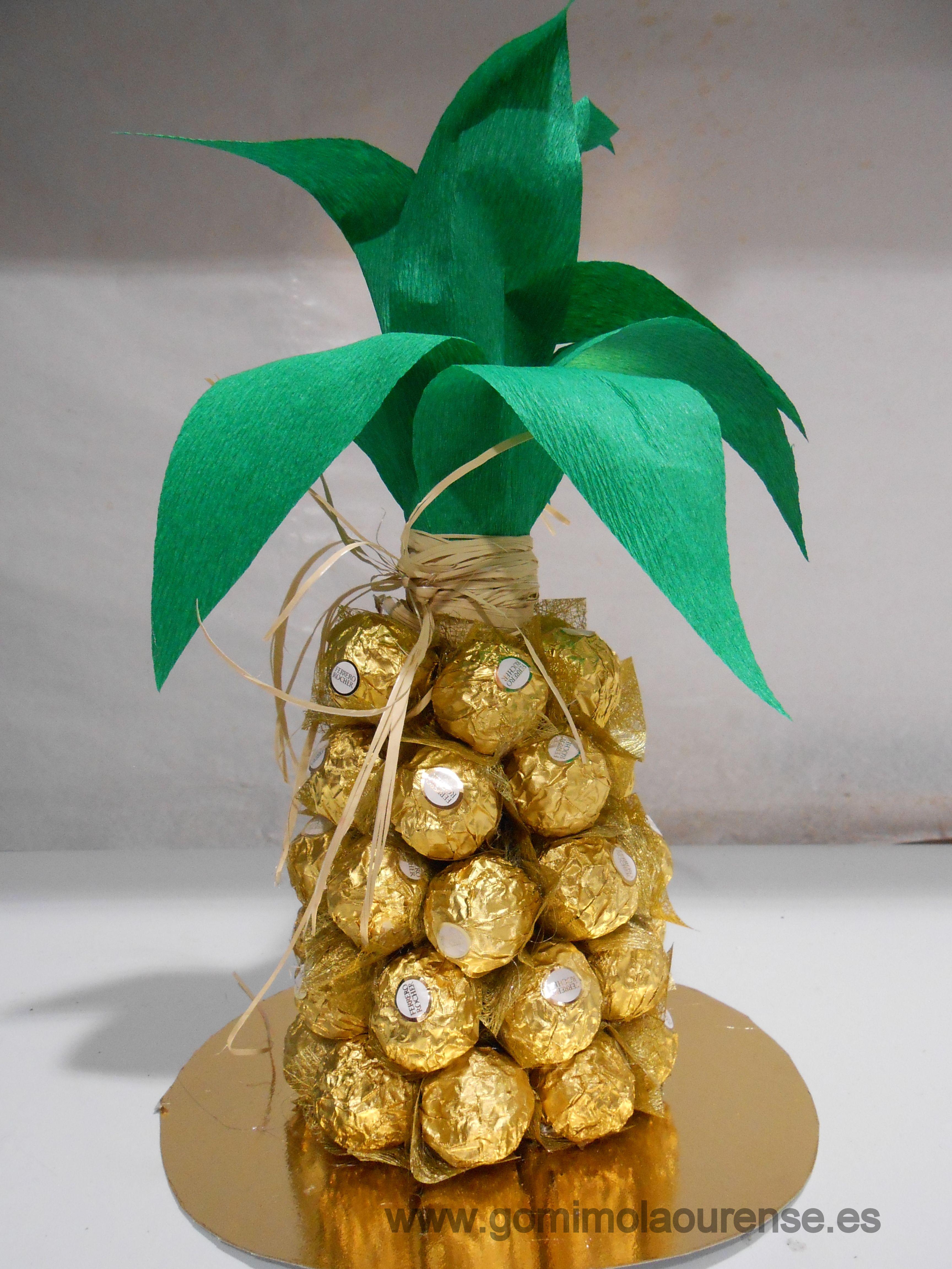 Especial centro de mesa de navidad pi a de bombones - Centros de mesa con pinas ...
