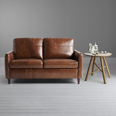 Buy John Lewis Dalston Semi Aniline Leather Small Sofa Earth Bronx Online At Johnlewis Com Small Leather Sofa Small Sofa Sofa