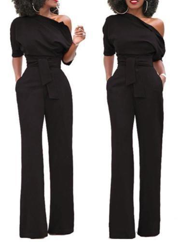 41edcb0b0a1 Rompers Womens Jumpsuit Clubwear Off Shoulder Playsuit Bodysuit Party Solid  Jumpsuit Romper Wide Leg Pants Long Trousers