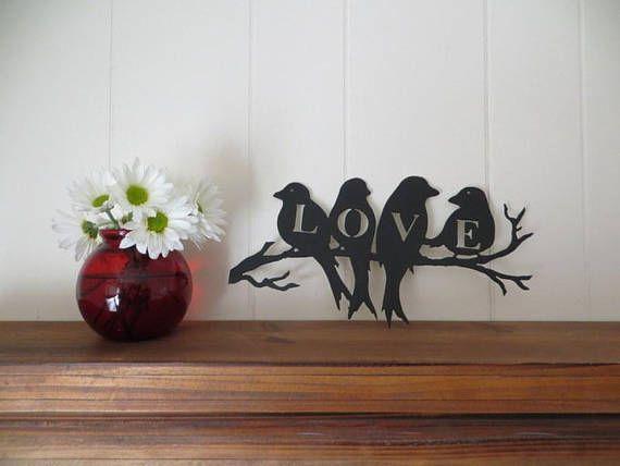 Love Birds CNC Plasma Cut Metal Art Wall Hanging,Wedding/Anniversary