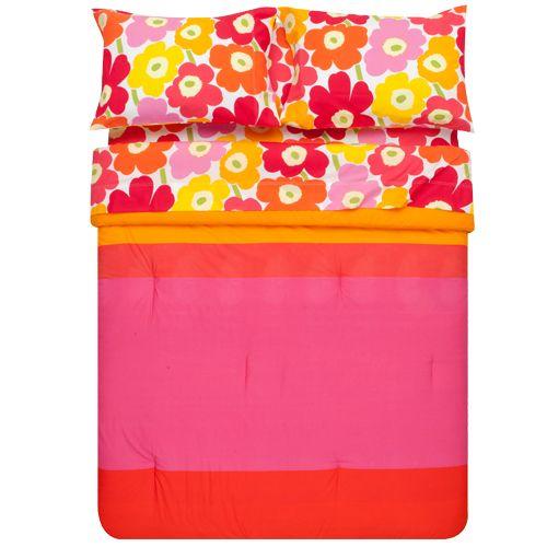 Marimekko Unikko Pink Percale Sheets & Marimekko Hennika Duvet