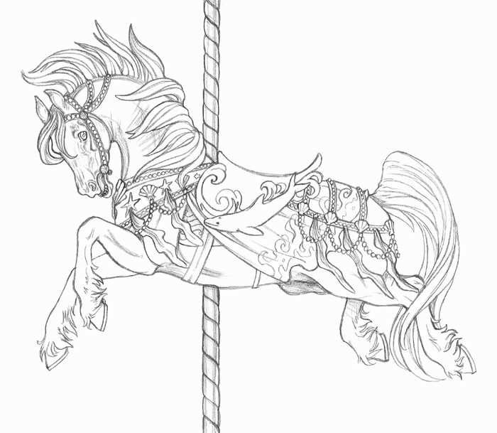 Carousel Horse Coloring Page Horse Coloring Horse Coloring