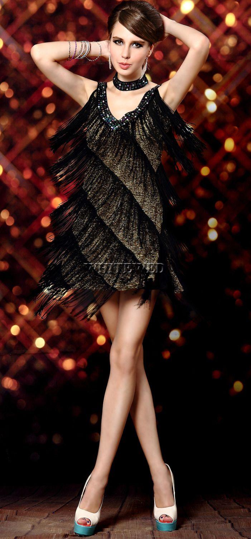 1920s Sexy V Neck Beade vintage Sequin Mini Flapper Dress costume ...