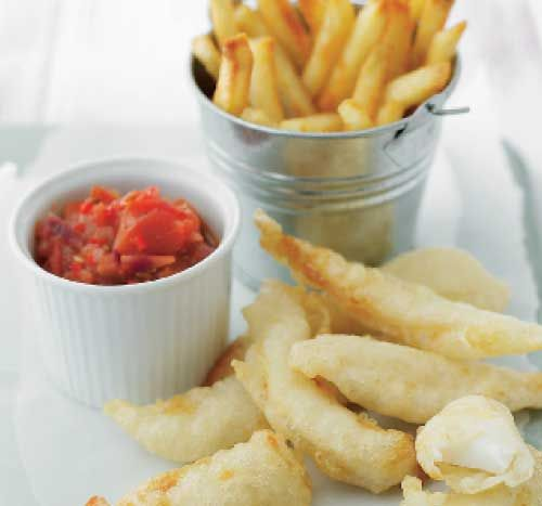 Tempura fish goujons with spicy tomato dip