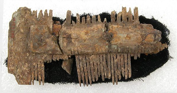 Double-Sided Comb Date: 7th century Culture: Frankish Medium: Bone, iron pins Dimensions: Overall: 3 1/8 x 1 5/8 x 9/16 in. (8 x 4.1 x 1.4 cm)