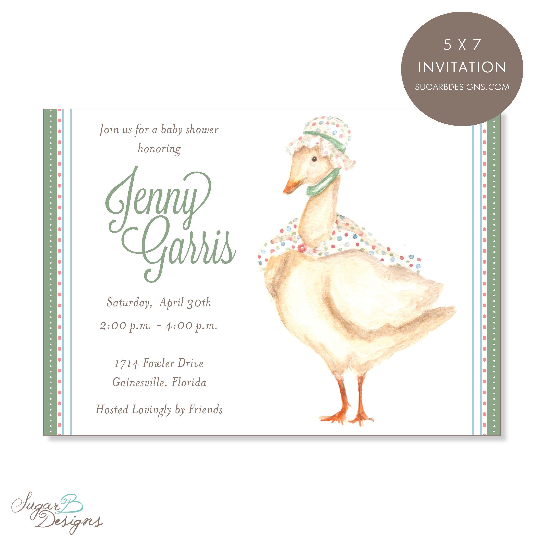 Mother Goose Invitation Sugar B Designs Www Sugarbdesigns Invitations Babyshower Babyshowerinvite Babyshowerinvitations Watercolor