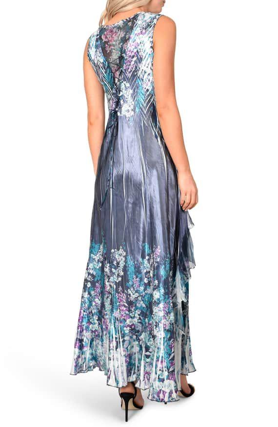 f3f03759fff Komarov Lace-Up Back Evening Dress with Wrap