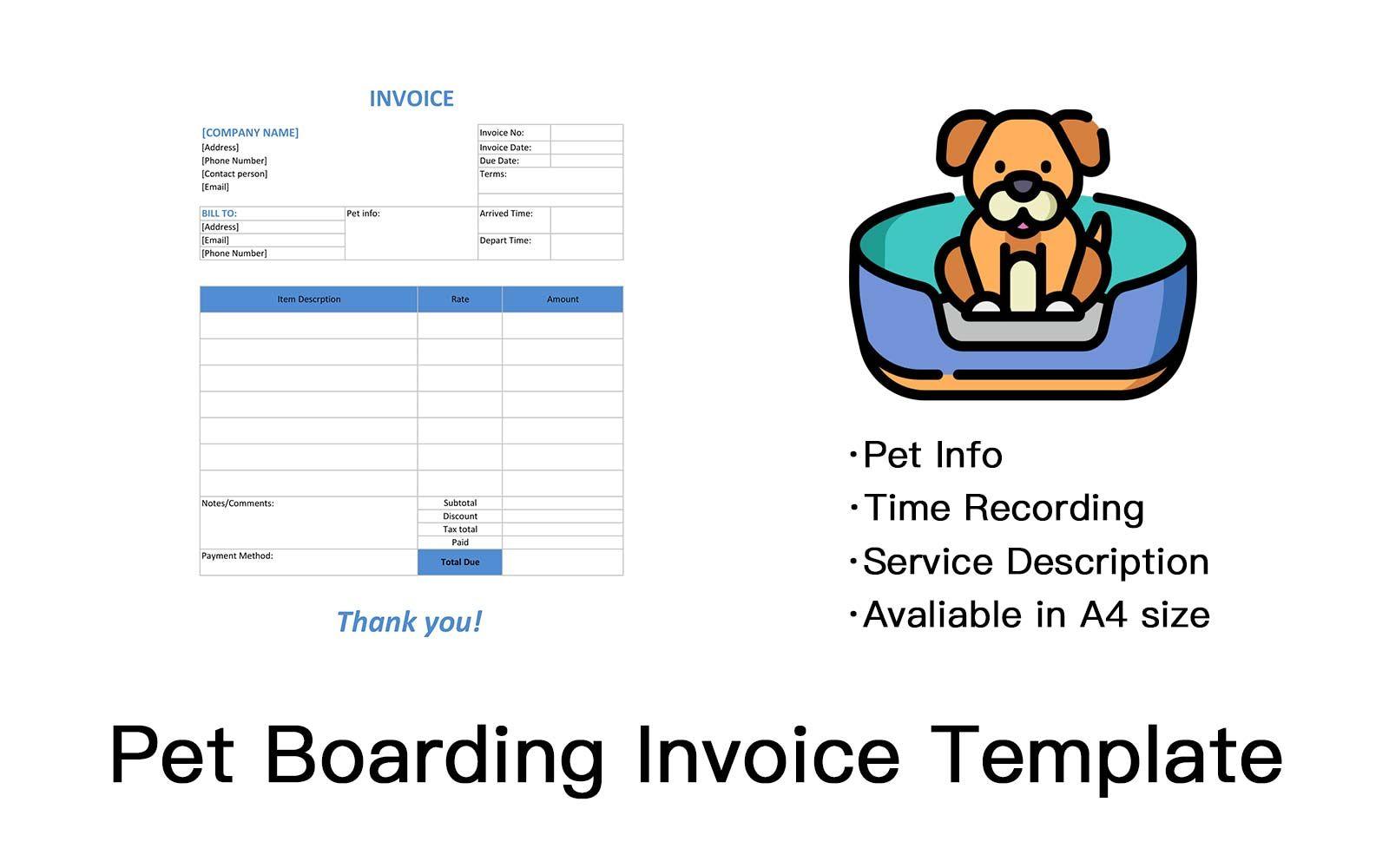 Pet Boarding Invoice Template Invoice Template Invoice Design Invoice Maker