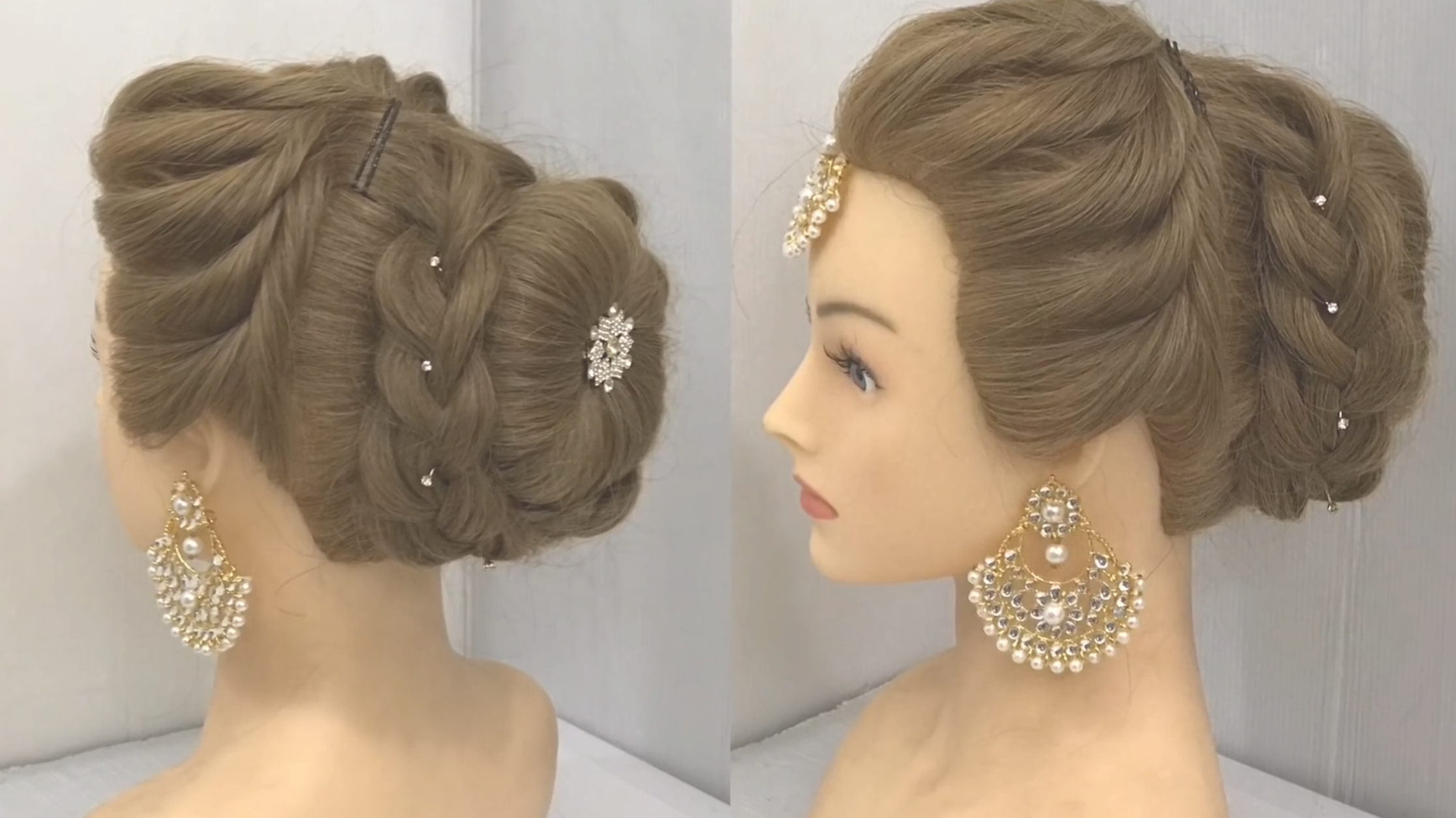 Most Beautiful Hairstyle For Wedding Or Party Easy Hairstyles Bun Hairstyle With Trick Hi Girls Wedding Hairstyles Videos Bridal Hair Buns Bun Hairstyles