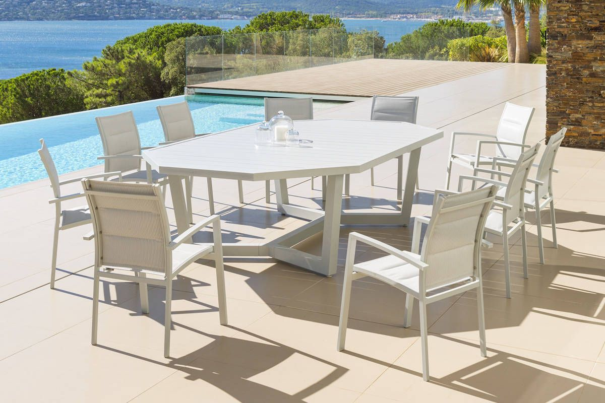 table octogonale olympe galet 10 places