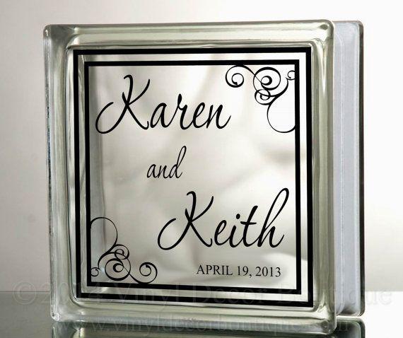 Wedding Anniversary Name And Date Glass Blocks Tiles Mirrors - Glass block vinyl decals