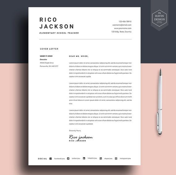 Resume Template For Ms Word Cv Template With Free By Havindesign