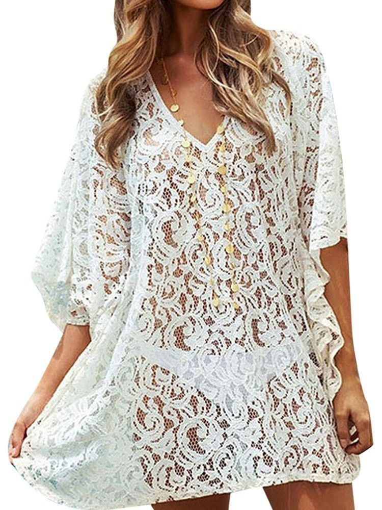 6e953731ca1cc Elegant White Lace Batwing Beach Cover Up One Size
