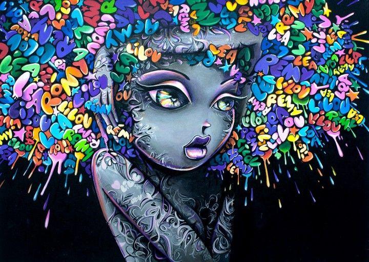 Face painting Framed Art Canvas Street  graffiti Urban  Art Print purple girl