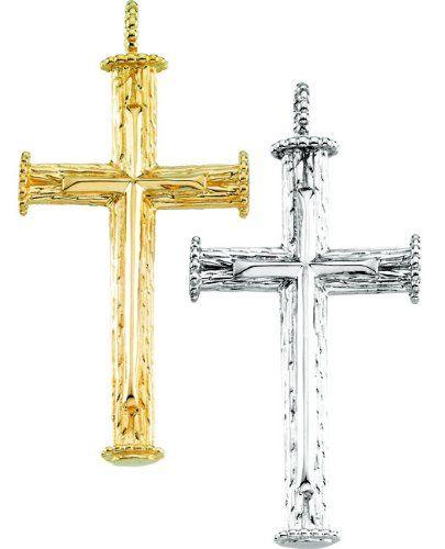 Amazon.com: 14K Yellow or White Gold Cross Pendant 39mm x 23mm (Yellow or White Gold): Jewelry