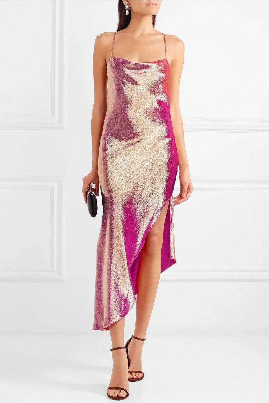Goldie Asymmetric Metallic Silk-blend Dress - Pink Haney Hot Sale Online Clearance Visa Payment tEaC2RFvl