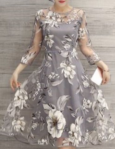 8daad155dc71e6 Charming Round Neck 3/4 Sleeve Floral Print See-Through Dress For Women