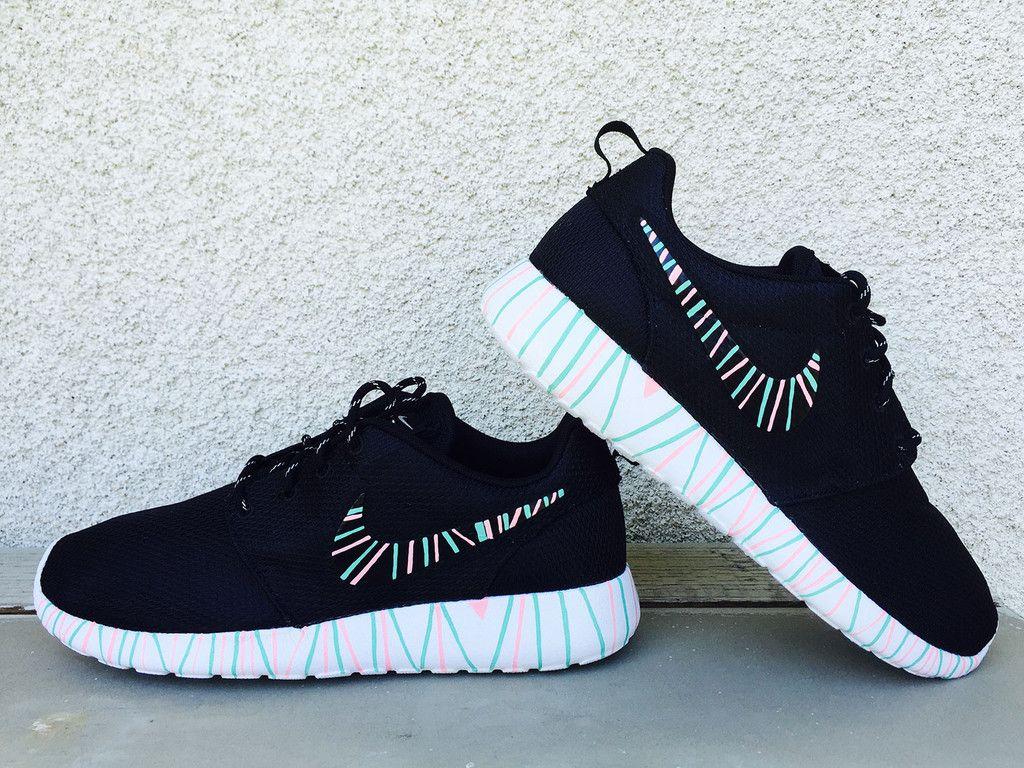 buy popular 824d2 e3131 Women s Custom Nike Roshe Run sneakers, South Beach teal  Pink petals,  Fashionable design,
