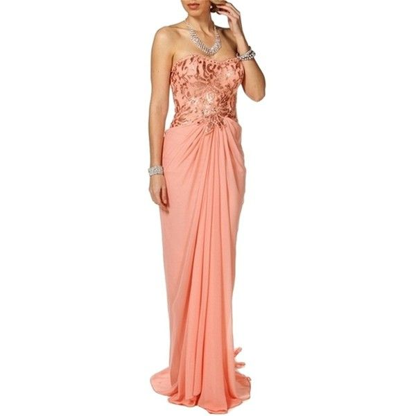 Pre-owned Windsor Coral Lace Chiffon Sequin Prom Bridesmaid Wedding ...