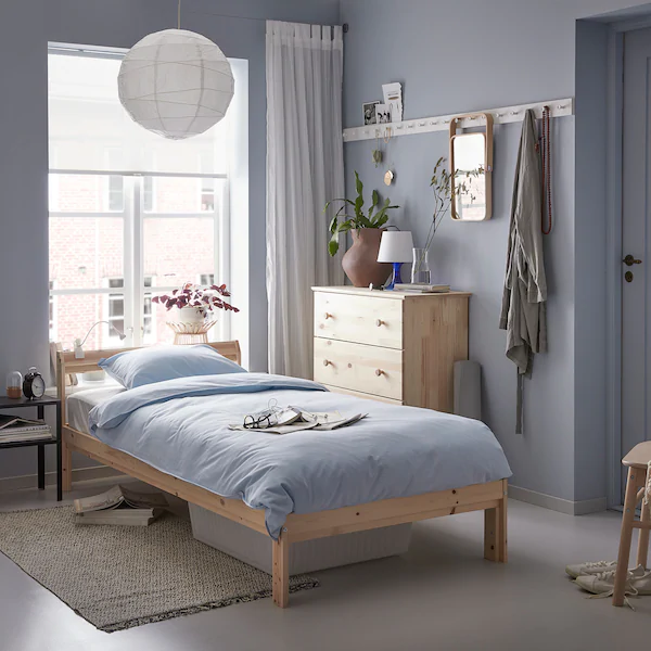Neiden Estructura Cama Pino Abedul Luroy 90x200 Cm Ikea Wooden Bed Frames Wooden Bed Bed Frame
