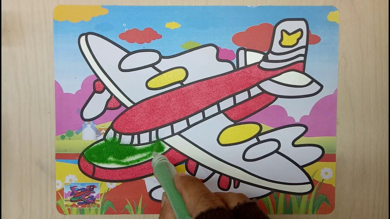 Mewarnai Gambar Pesawat Terbang Sand Painting Art Dengan Gambar